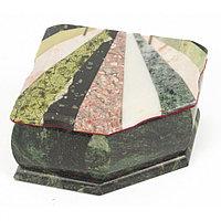 Шкатулка с мозаикой креноид змеевик офиокальцит мрамор 11х9х6,5 см