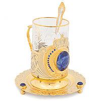 """Чайный набор """"Корона"""" с фианитами лазурит"""