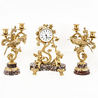 """Каминные часы с бронзовыми канделябрами """"Колибри"""" креноид"""