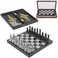 Настольная игра Шахматы Шашки Нарды 3 в 1 из натурального камня