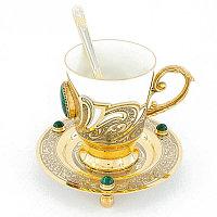 """Кофейная пара """"Малахитовая"""" фарфор 170 мл чашка на блюдце с ложкой в подарочной коробке Златоуст"""