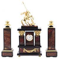 """Каминные часы с подсвечниками """"Святой Георгий"""" камень яшма бронза"""