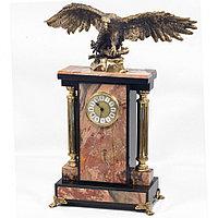 """Часы из натуральной яшмы и бронзы """"Горный орел"""""""