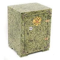 Сейф средний с гербом России камень змеевик зеленый 19x16x24 см