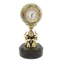 """Настольные часы """"Слон с шаром"""" из камня и бронзы"""