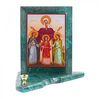 Икона с подсвечником Вера, Надежда, Любовь и мать их София средняя 12х12х13 см