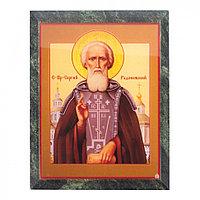 Икона настенная Сергий Радонежский змеевик 14х18х1,2 см