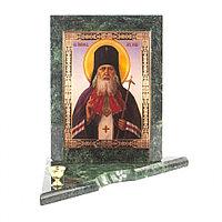 Икона с подсвечником Святой Лука средняя из змеевика 12х12х13 см