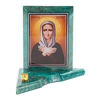 Икона с подсвечником Ксения Петербуржская малая из змеевика 9,5х9,5х10 см