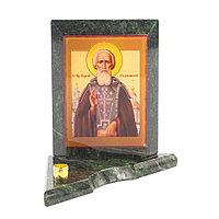 Икона с подсвечником Сергий Радонежский малая из змеевика 9,5х9,5х10 см