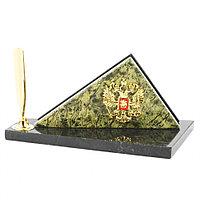 Визитница настольная с гербом России змеевик