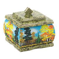 Шкатулка змеевик рисунок Осень 10х10х9 см