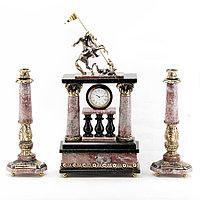 """Каминные часы из бронзы с подсвечниками """"Святой Георгий"""""""