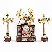 """Каминные часы с канделябрами """"Амур и Психея"""" из яшмы и бронзы"""