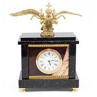 """Настольные часы """"Двуглавый орел"""" камень яшма бронзовое литье"""