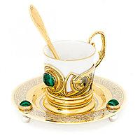 """Кофейная пара из костяного фарфора """"Малахит"""" 80 мл чашка на блюдце с ложкой в подарочной коробке Златоуст"""