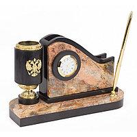 Письменный мини-набор из яшмы с гербом России