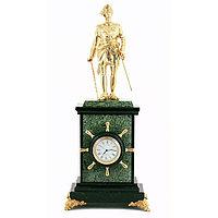 """Интерьерные часы из змеевика с бронзой """"Петр 1 Великий"""""""