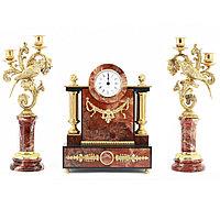 """Каминные часы из яшмы """"Колибри"""" с канделябрами"""