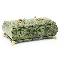 """Шкатулка """"Дуэт"""" камень змеевик зеленый 19x10x7 см"""