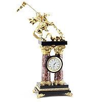"""Каминные часы """"Георгий Победоносец"""" на столбах из креноида и бронзы"""