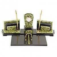 """Настольный набор из камня """"Бюрократ"""" светло-зеленый змеевик"""