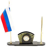 Визитница с флагом России из змеевика