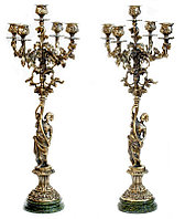 """Бронзовые канделябры """"Диана"""" 5 свечей на подставке из змеевика"""