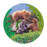 """Магнит с рисунком """"Два медведя"""" змеевик"""