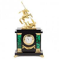 """Часы из малахита с бронзой """"Георгий Победоносец"""""""