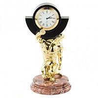 """Декоративные часы из камня и бронзы """"Атлант"""" креноид"""