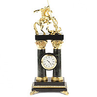 """Интерьерные часы """"Святой Георгий"""" на столбах камень офиокальцит бронза"""