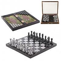 Шахматы шашки нарды 3 в 1 змеевик мрамор