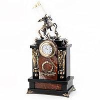 """Каминные часы из яшмы с бронзой """"Георгий Победоносец"""""""