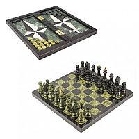 Настольная игра Шахматы Шашки Нарды 3 в 1 из камня змеевик мрамор