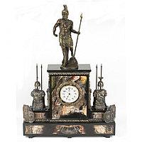 """Интерьерные часы из яшмы с бронзой """"Спартанец"""""""