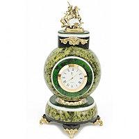 "Часы ""Георгий Победоносец"" змеевик бронза 10,5х10,5х21 см 1300 гр."
