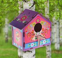 Скворечник деревянный для птиц с цветным рисунком 19,5×13×19 см