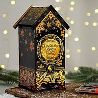 "Чайный домик ""Счастливого Нового года"", чёрно-золотой 19,3х15х6х8,6 см"