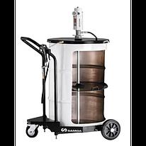 Мобильный пневматический солидолонагнетатель с насосом PM35 для бочек 185 кг