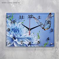 """Часы настенные, серия: Цветы, """"Голубые цветы и бабочка"""", 25х35 см, микс"""