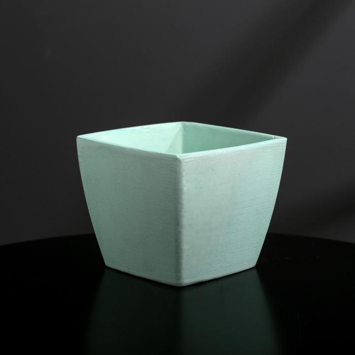 Кашпо-квадрат из бетона «Классика», мятное, 11 х 11 см