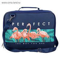 Папка с ручками, текстильная, А4, 350 х 265 х 60 мм, «Оникс», ПМД 6-20, с плечевым ременем, «Фламинго perfect»