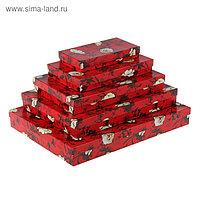 """Набор коробок 5в1 """"Белый шиповник"""", 40 х 30 х 5 - 20 х 10 х 3 см"""