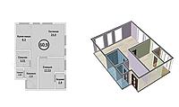 2 комнатная квартира в ЖК Кристалл 2 60.9 м², фото 1