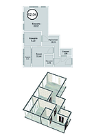 2 комнатная квартира в ЖК Кристалл 2 62.04 м²