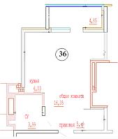 1 комнатная квартира в ЖК Кристалл 2 36 м², фото 1