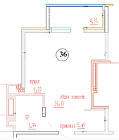 1 комнатная квартира в ЖК Кристалл 2 36 м²