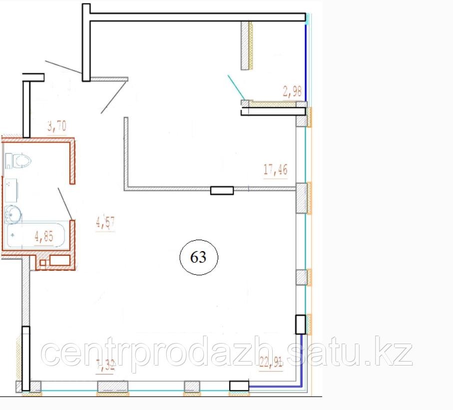 2 комнатная квартира в ЖК Кристалл 2 63 м²