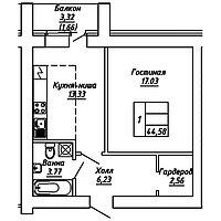 1 комнатная квартира в ЖК  Brussel 2 44.58 м², фото 1